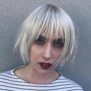 14 Choppy Platinum Bob With Bangs
